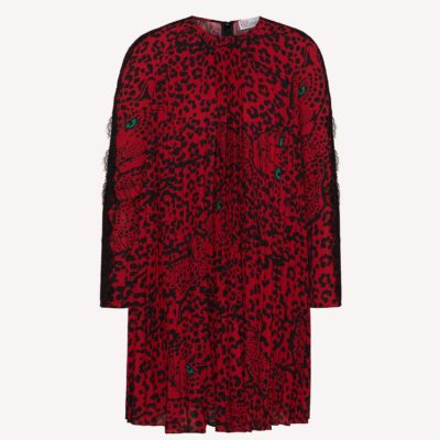 robe leopard rouge red valentino