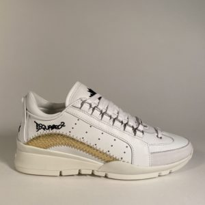 sneakers or et blanc dsquared